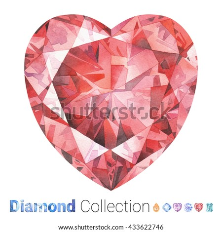Watercolor jewelry set. Hand drawn watercolor diamonds. Isolated luxury objects on white background. Red colored gemstone. Heart diamondcut. Ruby - stock photo