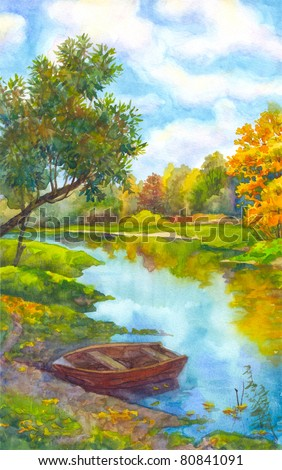 Watercolor landscape. An old boat near the shore of a small river in the autumn forest - stock photo