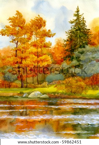 Watercolor landscape. Autumnal forest on the lake - stock photo