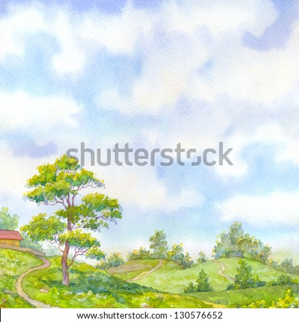 Watercolor landscape background merry sunny summer day. Tall oak tree beside the path leading down the hill to the valley