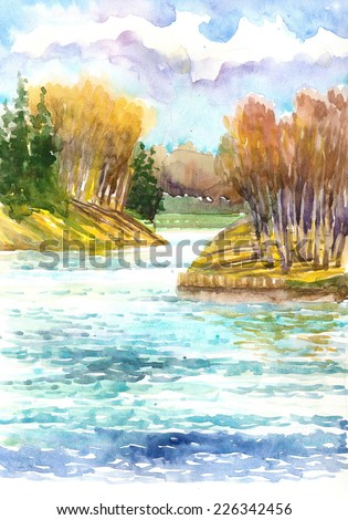 Watercolor landscape. Beautiful yellow autumn trees in a forest lake .  - stock photo