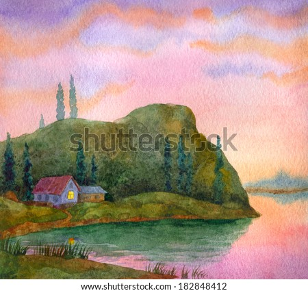 Watercolor landscape. Colorful sunset over a calm lake - stock photo