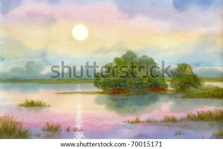 Watercolor landscape. Gentle sunrise over the misty lake - stock photo