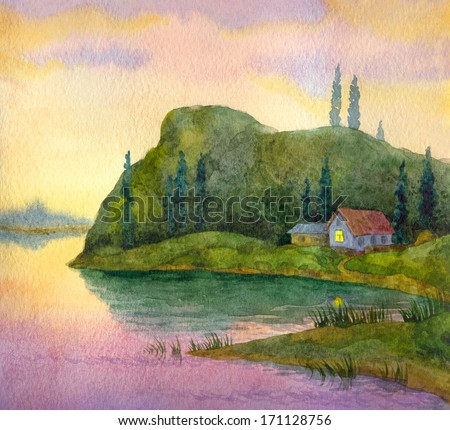 Watercolor landscape. Lonely hut under a mountain on the shores of Lake evening - stock photo