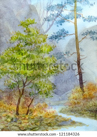 Watercolor landscape. Mountain brook in a tranquil autumn forest - stock photo