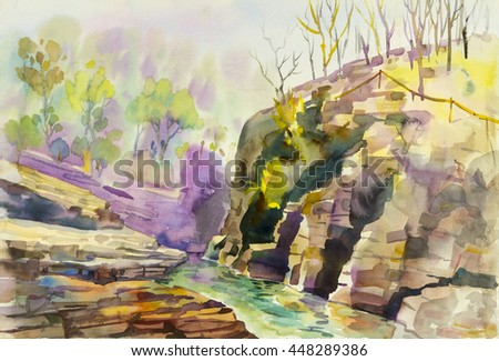 Watercolor landscape original painting colorful of mountain and river in green leaves  blue background.