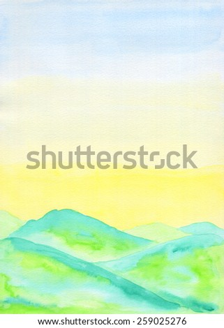 Watercolor landscape painting of fresh green hills in early Summer, with sunny lemon yellow and blue sky. Hand drawn using transparent watercolor paint on paper. - stock photo