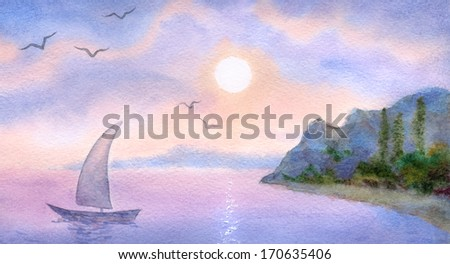 Watercolor landscape. Sailboat on a quiet sea meets the rising sun - stock photo