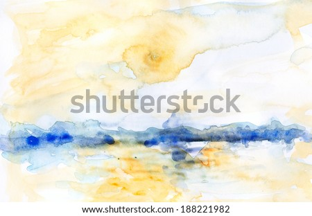 Watercolor landscape yellow and blue. Atmospheric bright abstract watercolor landscape with water, a city skyline and clouds. - stock photo