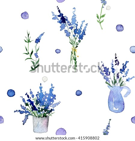 Watercolor Lavender pattern. Seamless watercolor pattern. Vintage flowers pattern. Herbs plant. Herbs and spice. Decorative watercolor background of Lavender.  - stock photo
