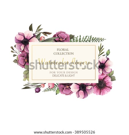 Watercolor leaves and flowers romantic frame. Vintage frame flowers and leaves. Label with flowers. - stock photo