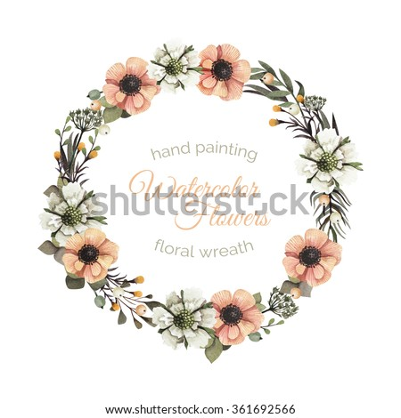 Watercolor leaves and flowers romantic wreath. Vintage round frame with berries, tree branch,white and orange anemones, leaves. Floral wreath in vintage style. - stock photo