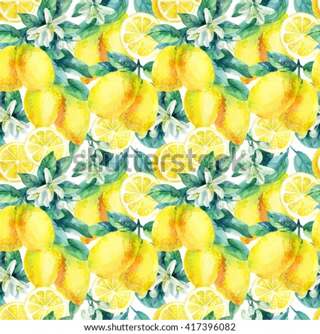 Watercolor lemon fruit branch with leaves seamless pattern on white background. Lemon citrus tree. Lemon branch and slices. Lemon branch with leaves. Hand painted illustration - stock photo