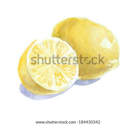 watercolor lemons, fresh fruits - stock photo