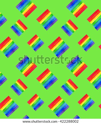 Watercolor LGBT rainbow colors flag seamless pattern Gay Lesbian Bisexual Transgenger love symbol green background - stock photo