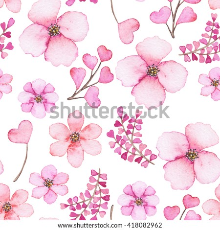 Watercolor light pink flowers hearts seamless stock illustration watercolor light pink flowers and hearts seamless texture mightylinksfo