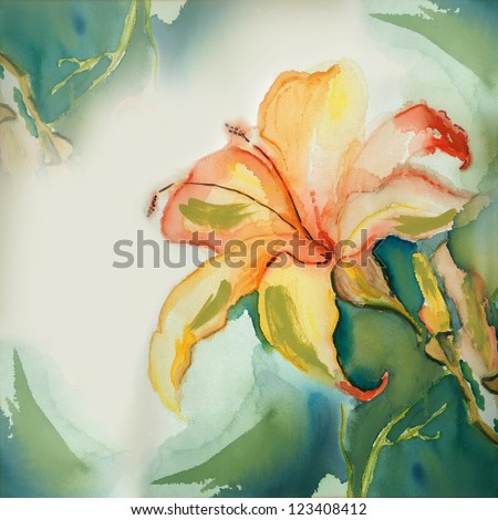 watercolor Lily - stock photo