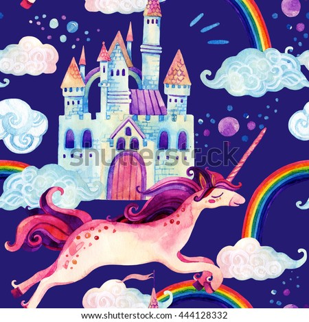 Watercolor little unicorn and magic castle seamless pattern. Flying unicorn, rainbow and castle background. Hand painted fairy tale elements for kids, children design