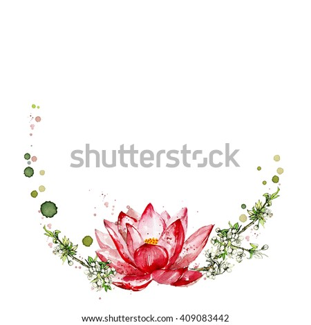 Watercolor lotus with cherry flower isolated on a white background. Round watercolor frame. Can be used for banner, cards, wedding invitations. Hand painted flower with watercolor splashes, stains. - stock photo