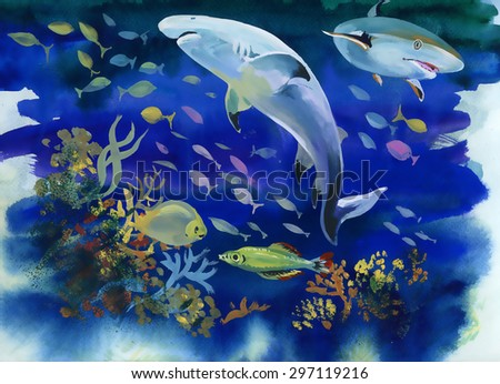 Watercolor Marine life background with Tropical fish