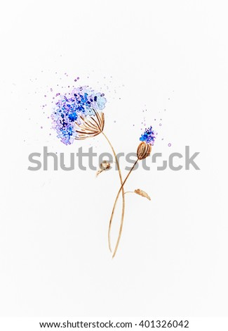 Watercolor meadow flower (hand painted) - stock photo