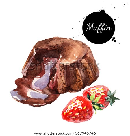 Watercolor melt chocolate muffin souffle dessert. Isolated food illustration on white background - stock photo