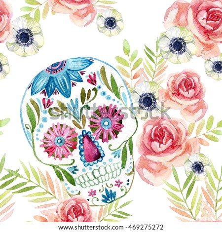 Watercolor Mexican Sugar Skull Among The Flowers Seamless Pattern Day Of Dead Holiday Background