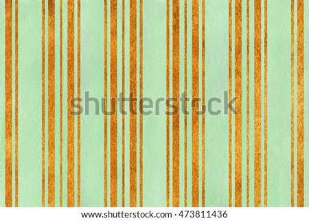 Watercolor mint green and acryl golden striped background.