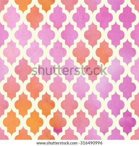 Watercolor Moroccan pink orange seamless pattern. Illustration. - stock photo