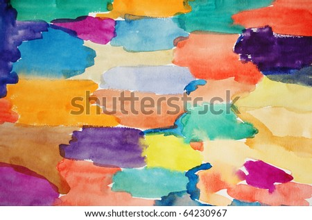 Watercolor multicoloured hand painted art background for scrapbooking - stock photo