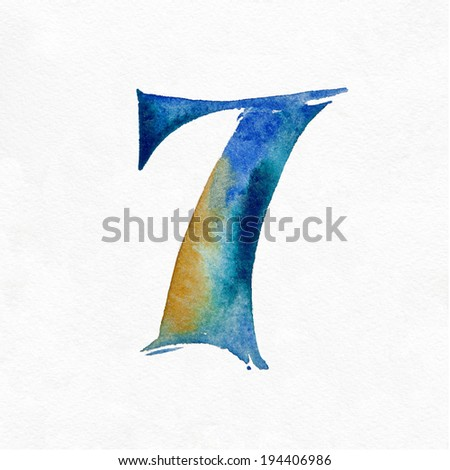 Watercolor Numbers on a white background. Number 7. - stock photo