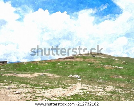 Watercolor of green grass hill and cloudy blue sky - stock photo