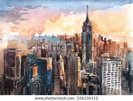 Watercolor of Manhattan skyscrapers at sunset - New York city towers - stock photo
