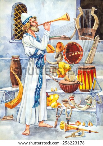 "Watercolor of series ""Character of Palestine"". Jewry historic servant of tabernacle worship. Dressed in ephod and kippah Kohen glorify God holy chants on lyre, harp, zither, trigon, psaltery, shofar - stock photo"