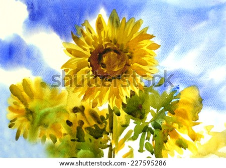 watercolor of  sunflowers in the sky original Hand painted