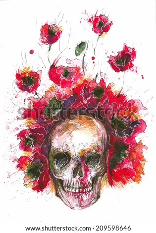 Watercolor of the skull and poppies in red - stock photo