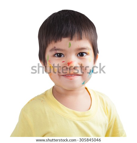 watercolor on face little boy by his play on white background - stock photo