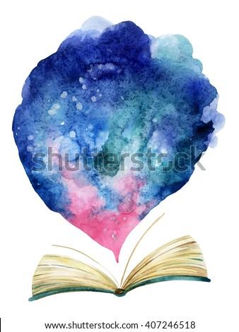 Watercolor Open Book Magic Cloud Whole Stock Illustration 407246518 ...