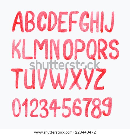 Watercolor or aquarelle red font. Hand-drawn alphabet with numbers.  - stock photo