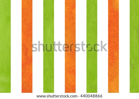 Watercolor orange and green striped background. Abstract watercolor background with orange and green stripes.