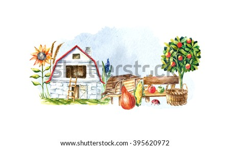 Watercolor organic farm. Hand drawn objects: tractor, sunflower, truck, fence, basket, butterfly, ladybug, pumpkin, corn and spica. - stock photo