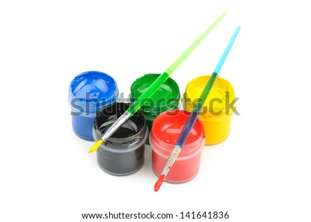 watercolor paint and brush isolated on white background - stock photo