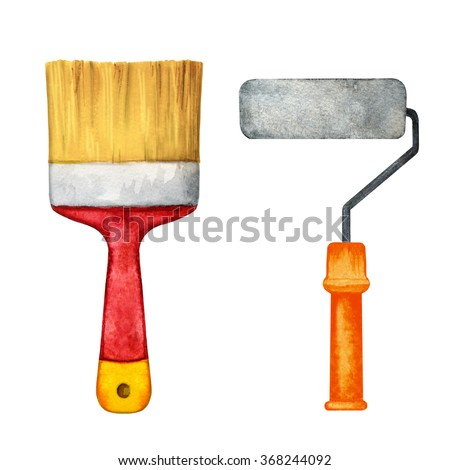 Watercolor paint brush, roller closeup isolated on white background set. Hand painting on paper. Art design elements - stock photo