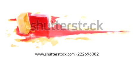 Watercolor paint cube and spilled paint isolated on white - stock photo