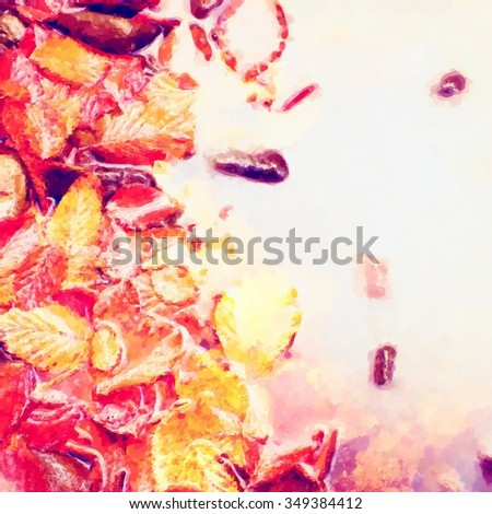 Watercolor paint. Paint effect. Fallen beech leaves and stones in water of mountain river, first leaves bellow water level - stock photo