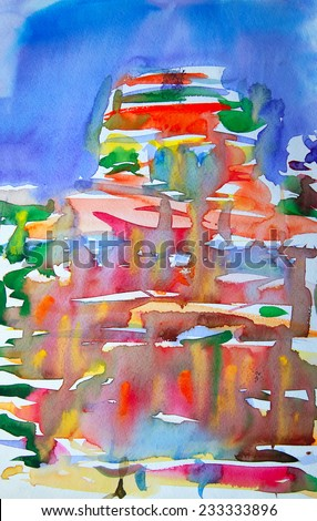 Watercolor painted abstract picture for background, texture - stock photo