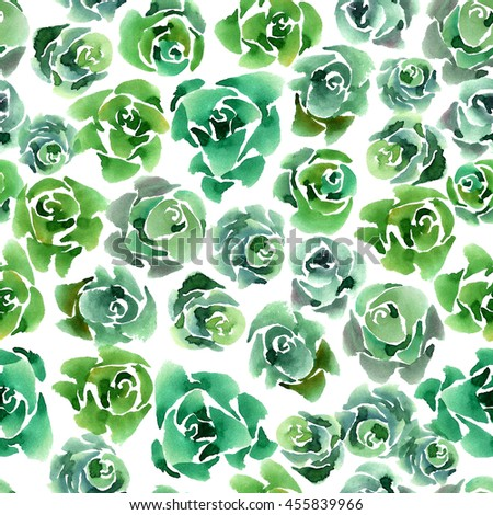 Watercolor painted background with green cabbages. Seamless pattern. Hand drawn.