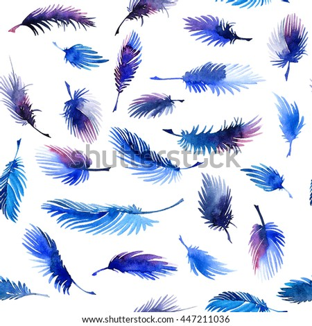 Watercolor painted feathers. Decorative seamless pattern.