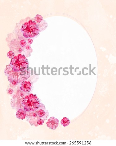watercolor painted floral ellipse frame - stock photo