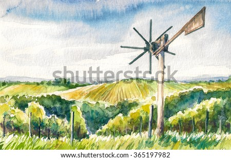 Watercolor painted illustration of Styrian Tuscany Vineyard with windmill -klapotetz in foreground, Austria